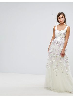 Chi Chi London Tulle Maxi Dress With Floral Embroidery