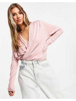 Chi Chi London wrap lounge top in pink