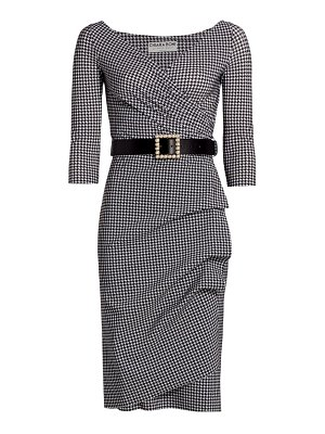 Chiara Boni La Petite Robe florien belted houndstooth sheath dress