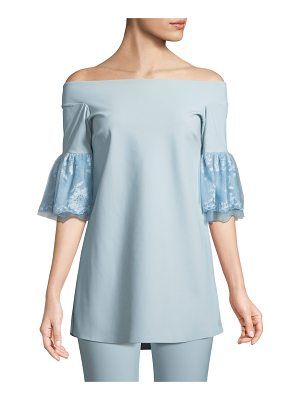 Chiara Boni La Petite Robe Gizzy Lace-Sleeve Off-the-Shoulder Top