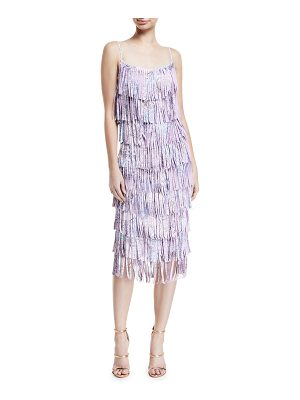 Chiara Boni La Petite Robe Pippa Tiered Fringe Sleeveless Cocktail Dress