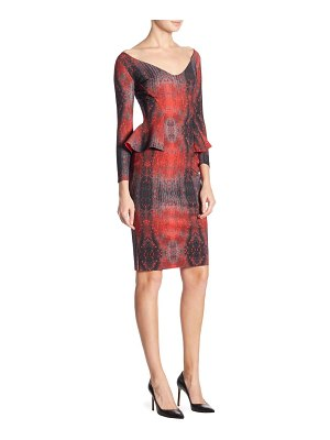 Chiara Boni La Petite Robe Three-Quarter Sleeve Peplum Dress