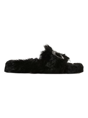 Chiara Ferragni 10mm embellished eye lamb fur sandals