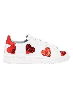 Chiara Ferragni 20mm glittered hearts leather sneakers