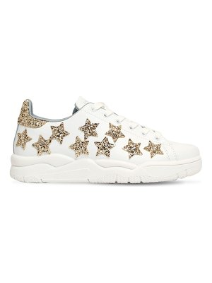 Chiara Ferragni 20mm glittered stars leather sneakers