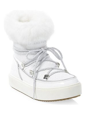 Chiara Ferragni glitter leather rabbit fur-lined snow boots