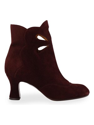 Chie Mihara Aura Cutout Suede Ankle Booties