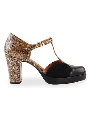 Chie Mihara Judeta Mixed Leather Ankle-Strap Sandals