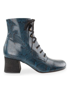 Chie Mihara Malia Snake-Print Lace-Up Booties