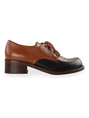 Chie Mihara Tudu Mixed Leather Lace-Up Loafers