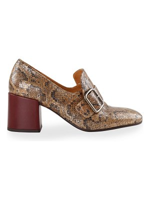 Chie Mihara Urchin Snake-Print Buckle Loafers