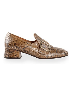 Chie Mihara Zemba Snake-Print Buckle Loafers