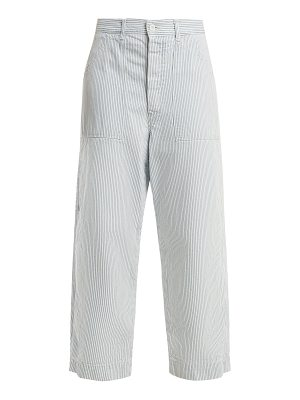 CHIMALA High Rise Striped Cotton Cropped Trousers