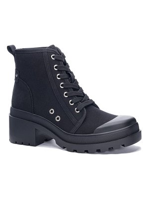 Chinese Laundry bunny canvas combat boot