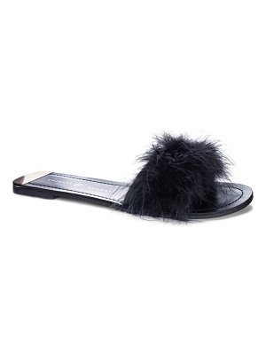 Chinese Laundry zoey faux feather slide sandal
