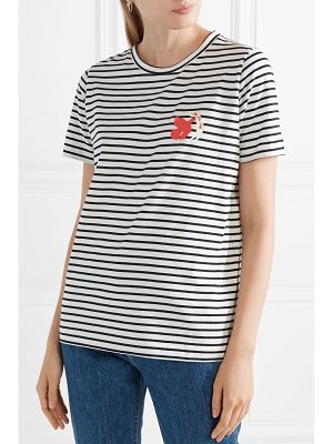 Chinti and Parker por la paz embroidered striped cotton-jersey t-shirt