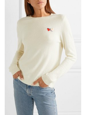 Chinti and Parker twin heart badge embroidered cashmere sweater