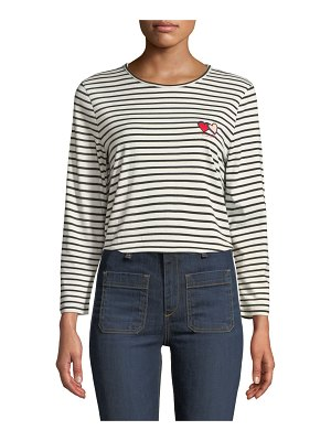 Chinti and Parker Twin Heart Striped Long-Sleeve Crewneck Tee