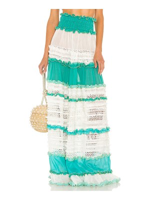 CHIO tier lace maxi skirt