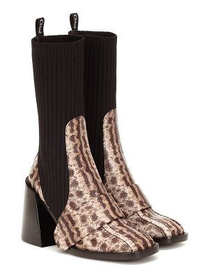 Chloe bea embossed leather boots
