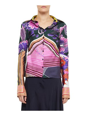 Chloe Abstract Multi Print Button-Front Shirt