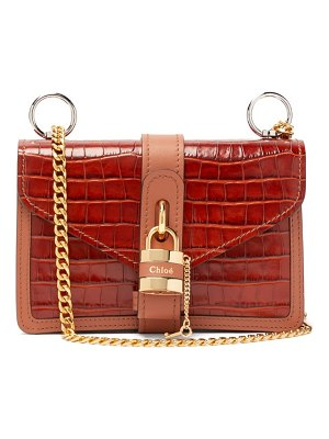 Chloe aby croc-embossed leather shoulder bag