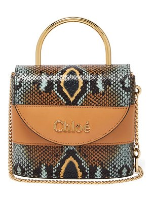 Chloe aby lock python-effect leather cross-body bag