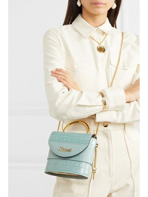 Chloe aby lock small croc-effect leather shoulder bag