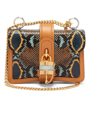 Chloe aby mini python-effect leather shoulder bag