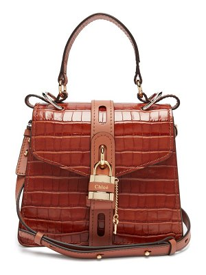 Chloe aby small crocodile-effect leather shoulder bag