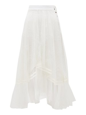 Chloe asymmetric chantilly-lace and silk-crepe skirt