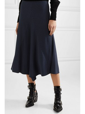 Chloe asymmetric pinstriped woven midi skirt