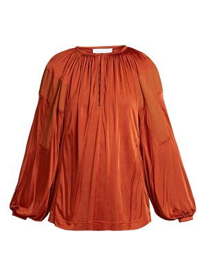 Chloe balloon-sleeve satin top