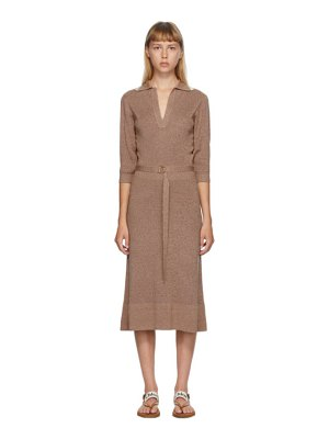 Chloe beige and off-white wool and silk belted dress