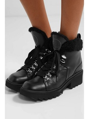 Chloe bella shearling-lined smooth and lizard-effect leather ankle boots