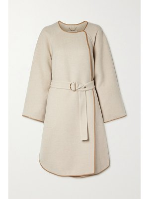 Chloe belted leather-trimmed wool and cashmere-blend coat