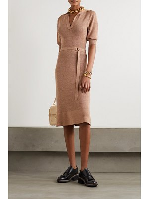 Chloe belted mélange wool and silk-blend midi dress
