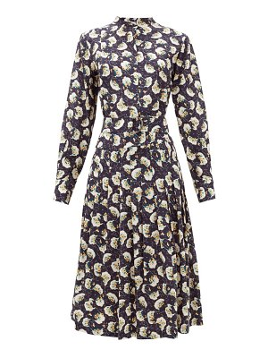 Chloe belted pintucked floral-print silk shirtdress