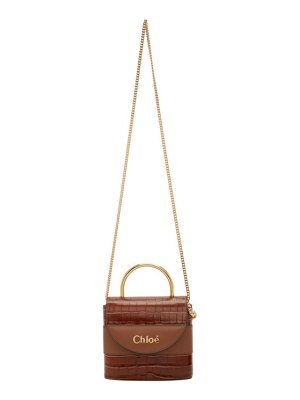 Chloe brown croc small aby lock bag