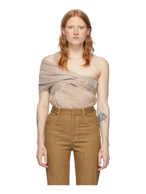 Chloe brown striped linen and silk blend one shoulder blouse