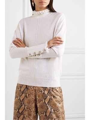 Chloe button-detailed ruffled cashmere turtleneck sweater