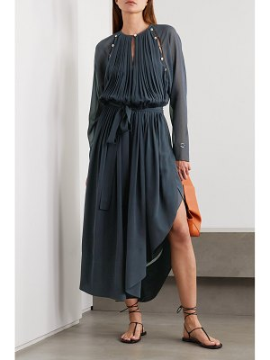 Chloe button-detailed silk-crepe midi dress