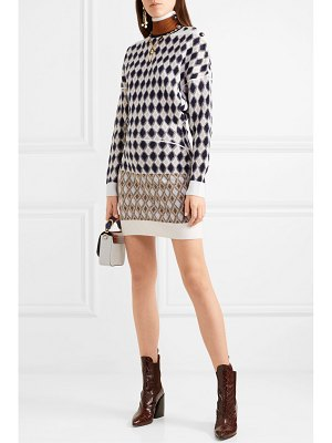 Chloe button-embellished argyle merino wool-blend mini dress