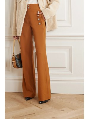 Chloe button-embellished stretch-wool wide-leg pants