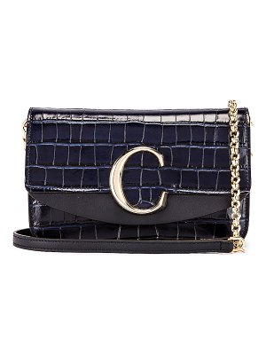Chloe c embossed croco clutch bag