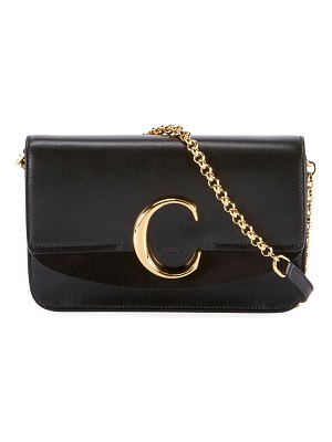 Chloe C Shiny & Suede Calfskin Clutch With Chain