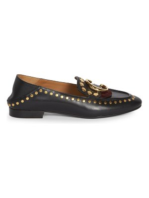 Chloe c studded leather loafers