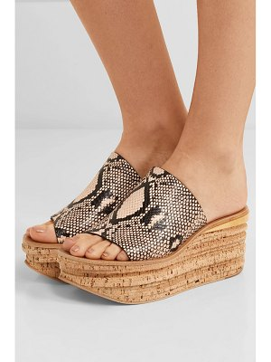 Chloe camille snake-effect leather wedge sandals