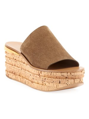 Chloe Camille Suede Wedge Slide Sandals
