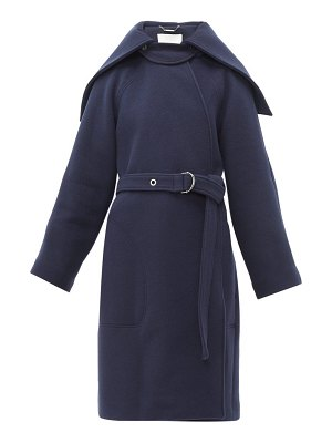 Chloe cape collar belted wool blend coat